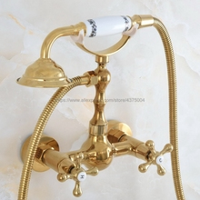 Shower-Faucet Wall-Mounted Bathroom Double-Handle Brass with Nna824 Gold-Color