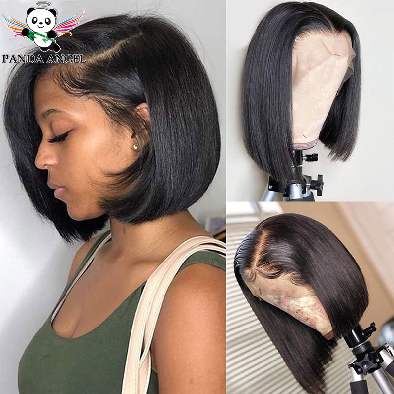 Brazilian Straight Short Bob Wigs 150% Density Pre-Plucked Bleached Knots Remy Lace Front Human Hair Bob Wigs For Women Panda