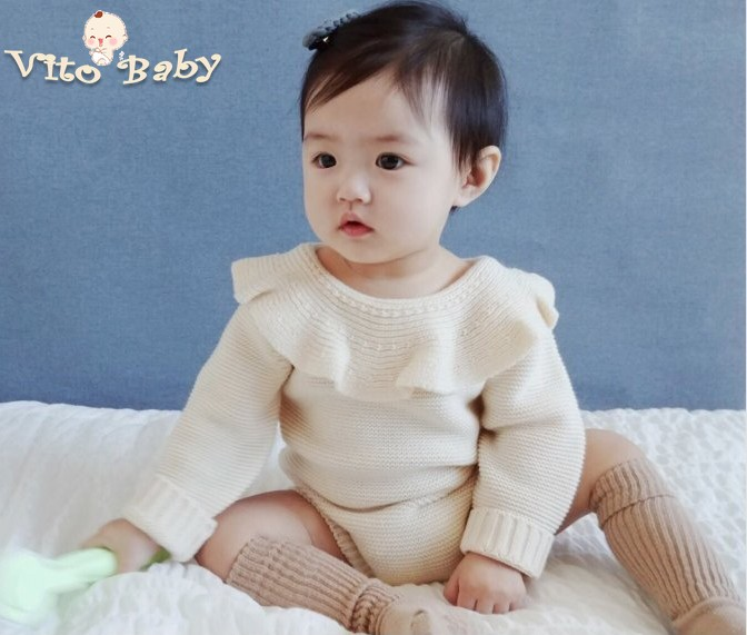 VITO BABY New Kids Baby Boys and Girls Warm Infant Romper Knit Solid Princess Jumpsuit Clothes Sweater Outfit Spring Autumn