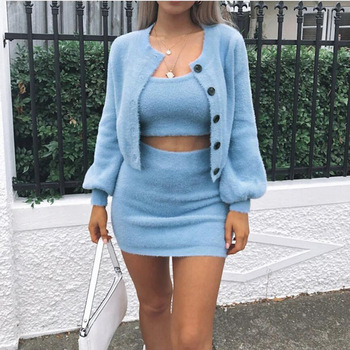 Sweater Button Shorts Cardigans 3 piece sets Women Tracksuit Fluffy Plush Autumn Winter Soft Vest Tank Top Long Sleeve