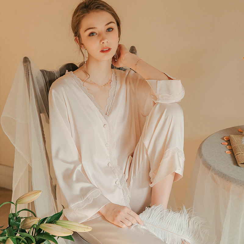 Munllure Spring pajamas women two-piece thin ice silk suit solid sweet loose large size casual long-sleeved home service summer