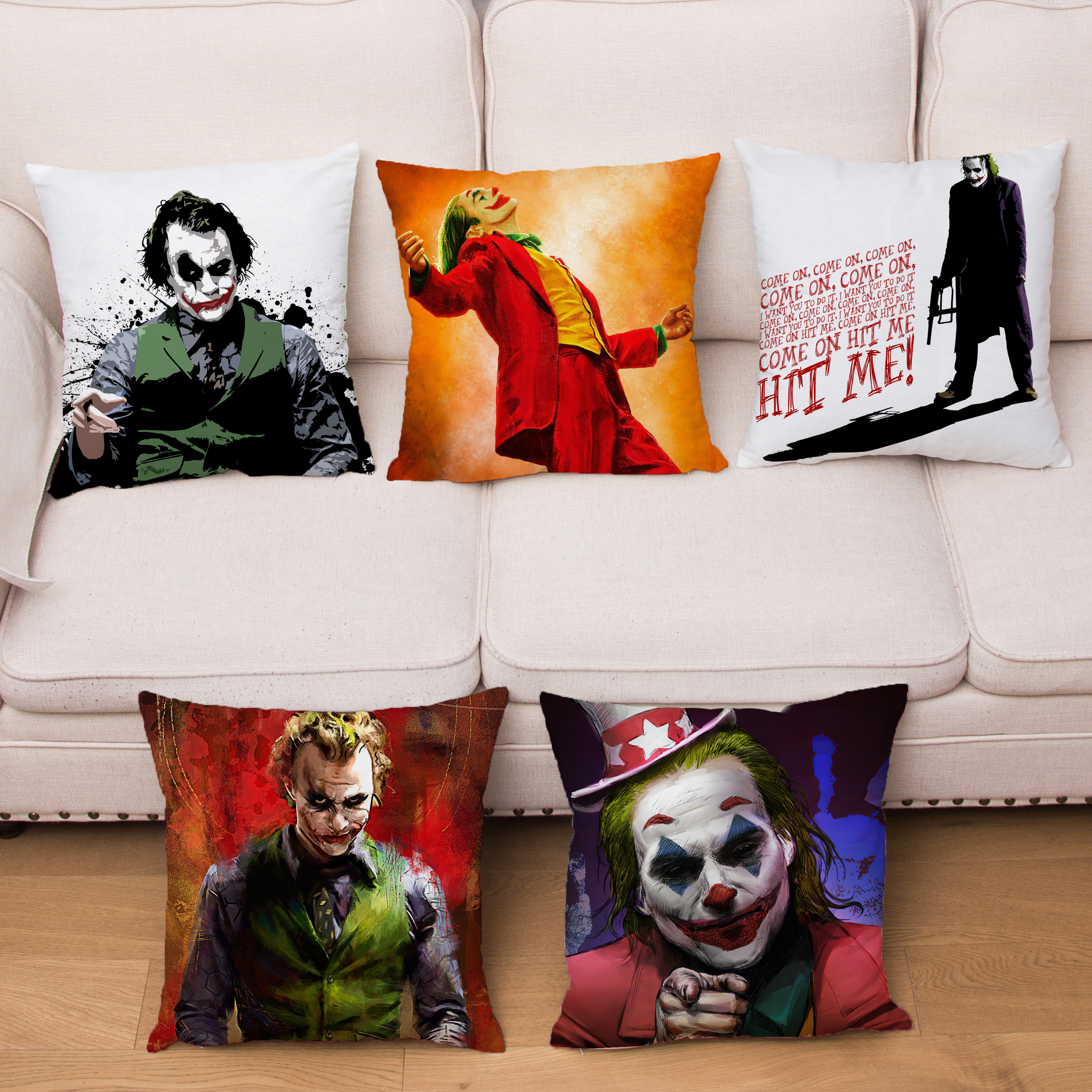 Comic Clown Joker Print Pillow Cover Short Plush Cushion Covers 45*45 Square Pliiows Cases Sofa Home Decor Pillowcase