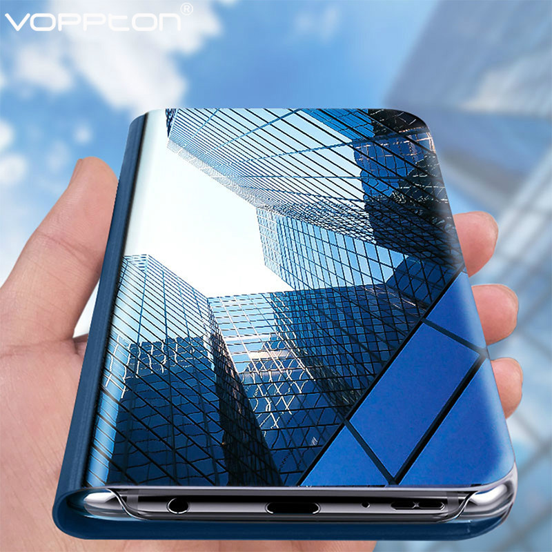 For Samsung galaxy M30S Phone Case Luxury Plating Smart Mirror Flip Stand full Protection Cover For Samsung M30S image
