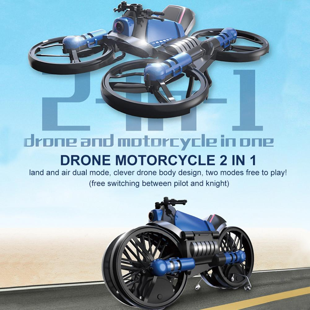 RC Motorcycle Drone 2 In 1 Remote Control Quadcopter Toy 2.4GHz Foldable Deformed Motorcycle Drone For Children Gifts