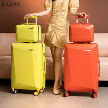 KLQDZMS 20''22''24''26 Inch Vintage Suitcases With Wheeled Trolleys PC Retro Rolling Luggage Set ABS Travel Fashionable Bag
