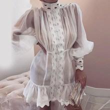 Transparent Sexy Ruffles Short Dress Women Long Lantern Sleeve Aline White Summer Party 2019