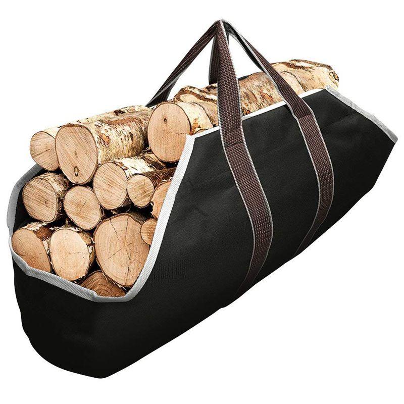 Bolsa de lona, bolsa de transporte para chimenea interior, Totes para leña, estante redondo para madera, portaequipajes de leña para transporte al aire libre Tubu