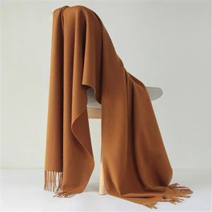 Image 5 - Luna&Dolphin Desinger Brand Women Pure Wool Scarf Solid Color Winter Ladies Pashmina Tassel Big Shawl Wrap Thicken Blanket Scarf