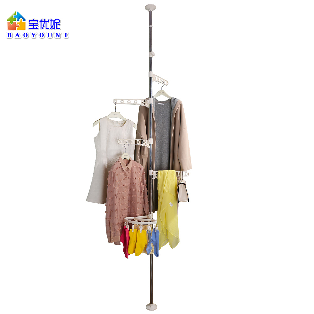 Corner Coat Hanger Pole Clothes Hat Stand Tension Rack Hooks Clips Adjustable Standing Clothes Laundry Drying Rack DQ0777-1