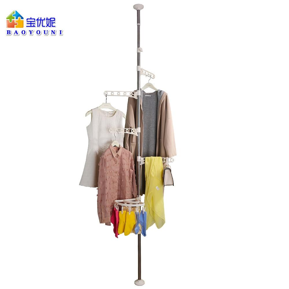 Corner Coat Hanger Pole Clothes Hat Stand Tension Rack Hooks Clips