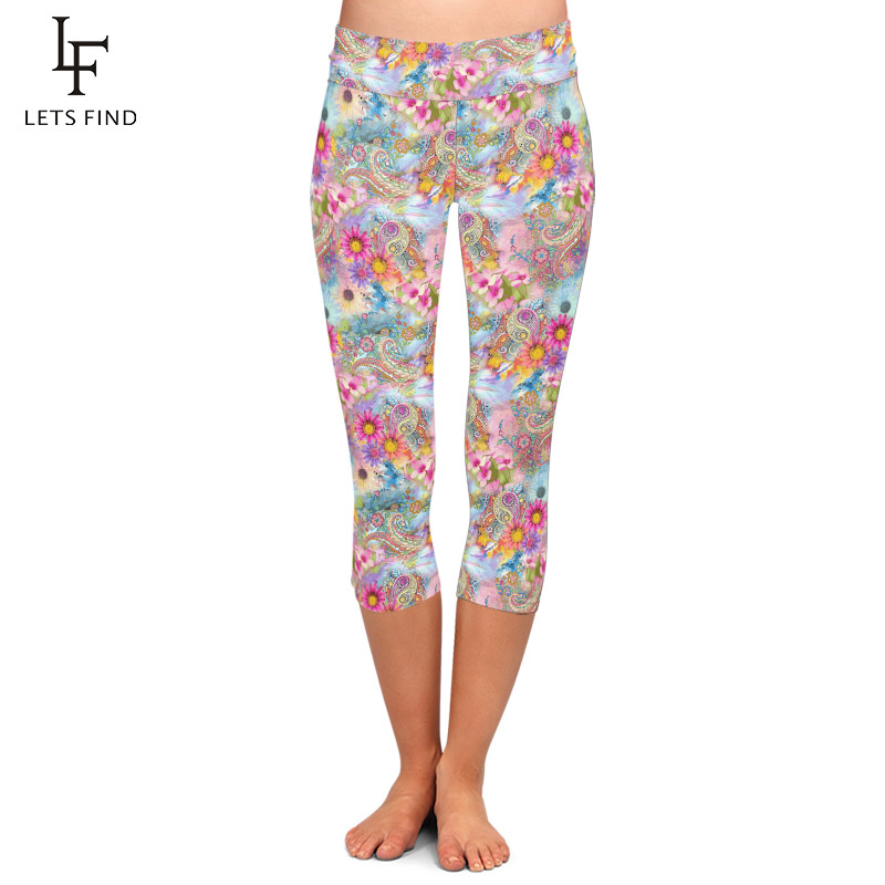 LETSFIND Fashion Beautiful Paisley Printing Women Plus Size Elastic Capri Leggings High Waist Slim Fitness Mid-Calf Leggings