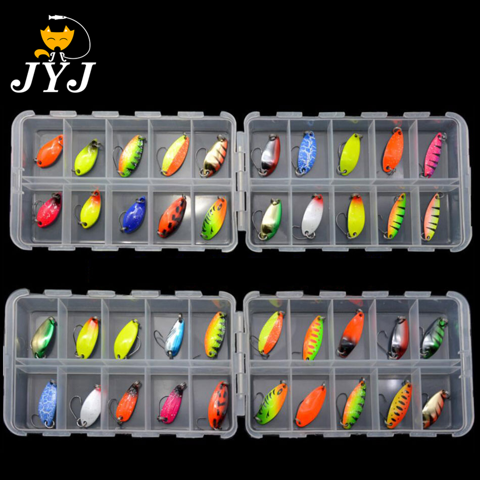 JYJ 20pcs Per Box Colorful 2.5 G 3g 3.4g 4.5g Hard Metal Fishing Spoon Lure Set Walleye Trout Spoon Baits Spoon Jig Baits