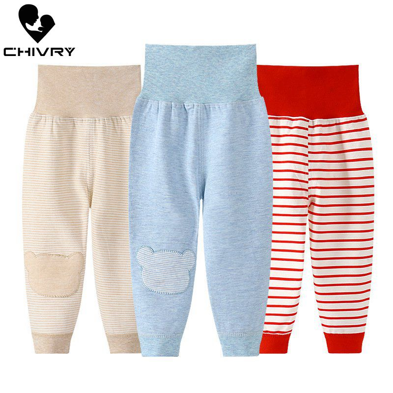 New 2020 Baby Boy Girls Spring Autumn Pants Kids Children Striped Cartoon Print High Waist Casual Trousers Newbron Infant Pants