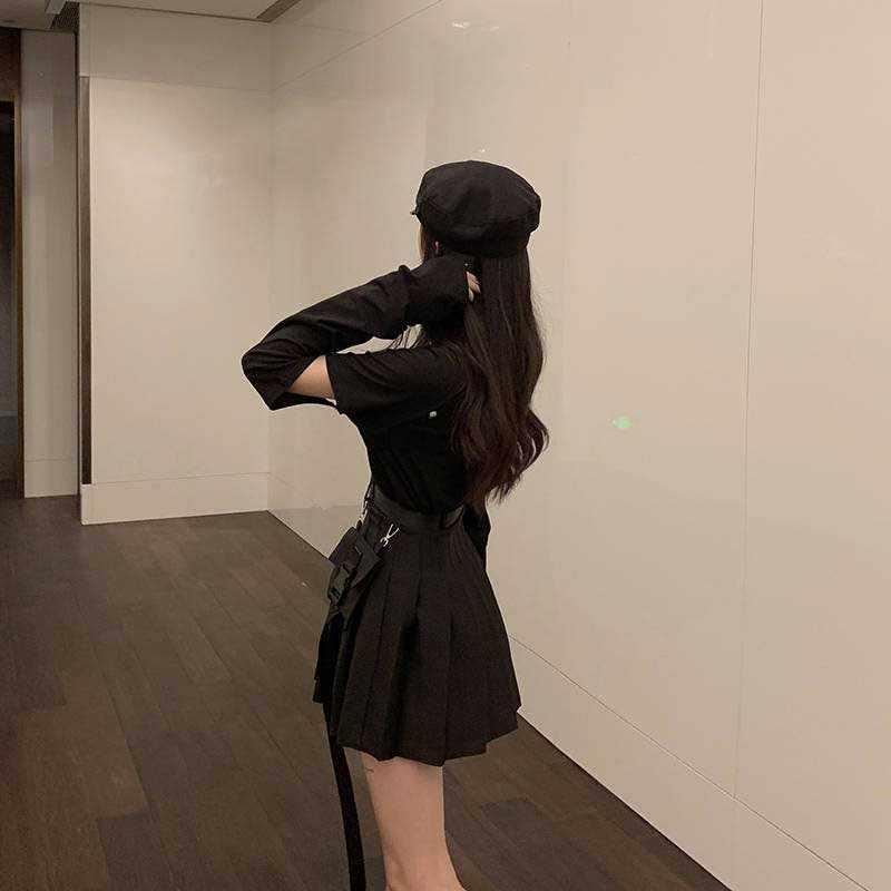 NiceMix שחור סט אונליין נשים סקסי מיני גבוהה מותן חצאית Streetwear נשים פאנק סגנון צד כיס אופנה עיצוב קפלים חצאית