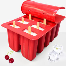 Dessert Freezer 4/10 Cavity Silicone Popsicle Ice Cream Mold with Cover DIY Homemade Lolly Fruit Juice Ice Cube Tray Maker