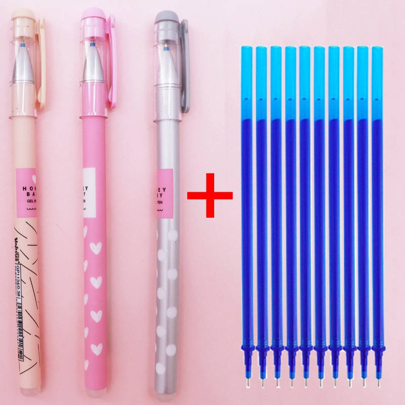 13Pcs/Lot Love Heart Erasable Gel Pen Set Erasable Washable Handle Erasable Pen Refill 0.38mm Blue Black Magic Pens For School