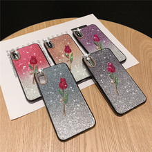 Shining Bling Fashion Phone Case For iphone 8 7 6 6s Plus Luxury Glitter Rose Hard Cover for X Xr XS Max Mrs Style