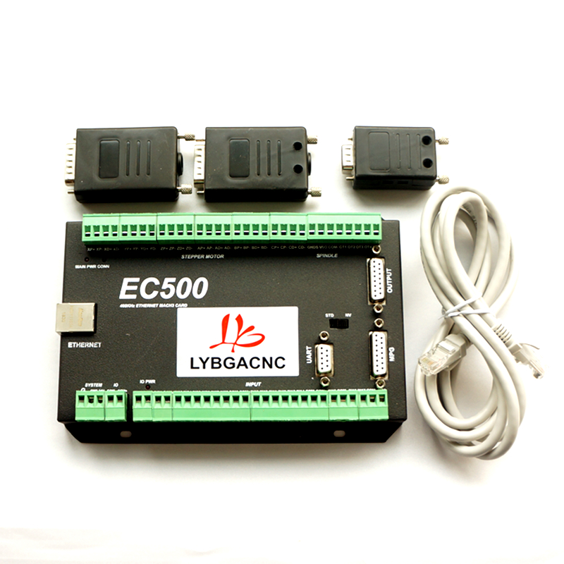 LYBGACNC NVEM Upgrade Mach3 CNC Motion Control Card EC500 Ethernet 3/4/5/6 Axis 460kHz 24VDC Support Standard MPG