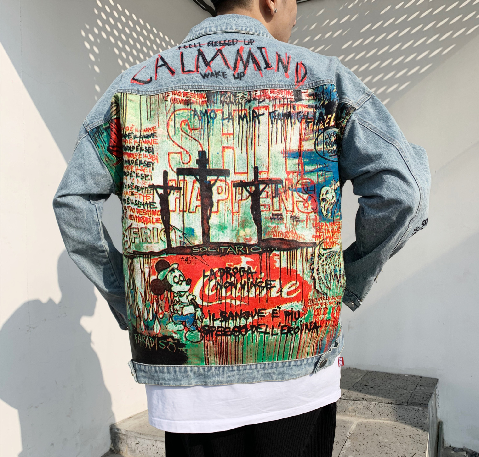 Devil Hand Painted Printing Men Denim Jacket Cartoon Graffiti Print Loose Coats Vintage Hip Hop Leisure Outerwear