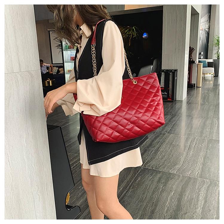 Women Handbag PU Leather 2020 Designer Brand Luxury Chain Shoulder Messenge Crossbody bag Large Capacity Office Lady Bag 6