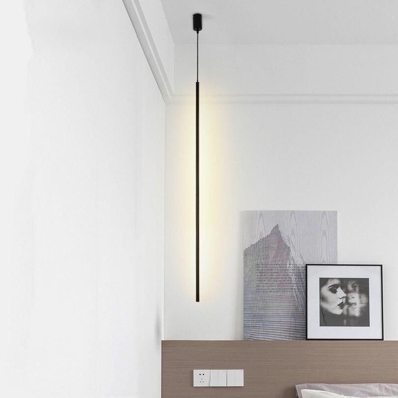 Lampes suspendues minimaliste De bande lampe De chevet De chambre à coucher De salon ligne De LED nordique