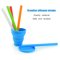 Color 1cm Silicone Straw for Recycling High temperature resistance Milk tea straw Beverage hose Silicone soft straight straw