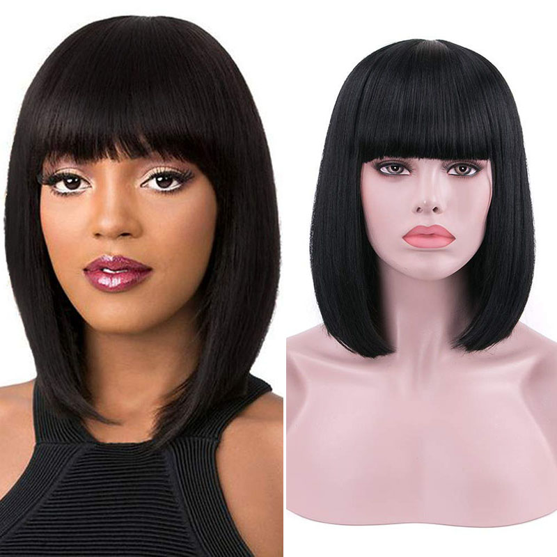 RONGDUOYI Black Short Bob Synthetic Lace Front Wigs With Bangs For Women Straight Wig Heat Fiber Hair Realistic Daily Use Wig