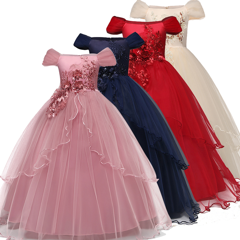 Kid Wedding Dresses for Girls Elegant Flower Princess Long Gown Baby Girl Christmas Dress vestidos infantil Size 6 12 14 Years(China)