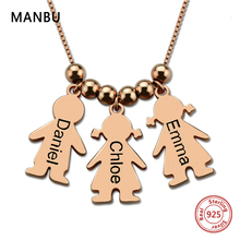 MANBU new custom necklace Silver 925 Personalized child engraved chain Pendant Necklace for women fashion jewelry mothers gifts