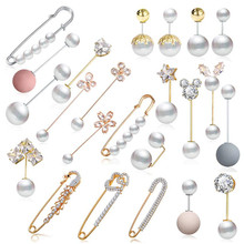 Elegantes Broches de perlas doradas para mujer, bufandas Vintage, Broches de cristal, joyería de boda, Broches de bisutería, regalo