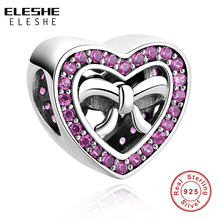 925 Sterling Zilver Roze Clear CZ Crystal Bow Knot Heart Charm Kralen Fit Originele Charms Armband Ketting DIY Sieraden(China)