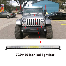 ECAHAYAKU 1x 50 inch 702W Tri-Row straight Curved LED work Light Bar combo beam Offroad led bar for 4X4 4WD jeep truck 12V 24V