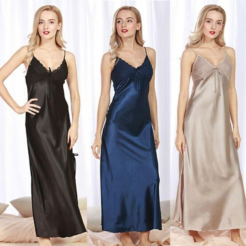 Sexy Ladies Silk Satin Night Dress Sleeveless Nighties V-neck Bow Nightgown Long Nightdress Lace Sleepwear Nightwear For Women