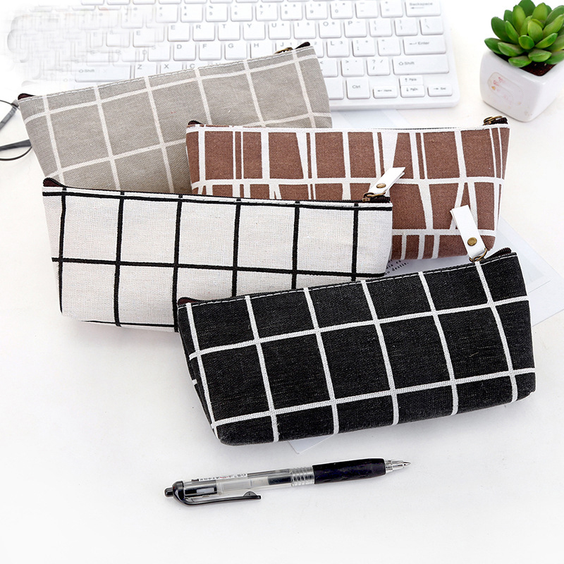 Women Plaid Cosmetic Bag Makeup Pencil Case Zipper Make Up Organizer Storage Pouch Toiletry Beauty Wash Bag Student Pencil Pouch