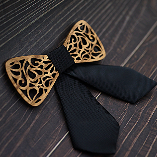 Girl's Carved Wooden Bow Tie 4