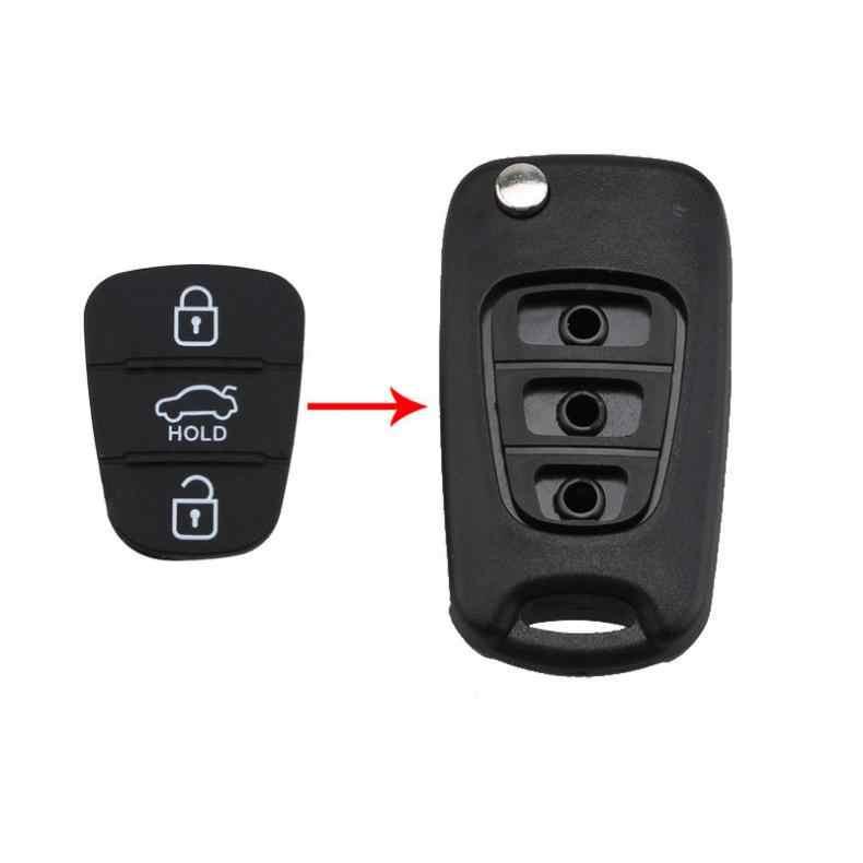 3 ปุ่ม Rubber Pad แทรกสำหรับ Hyundai Solaris Accent Tucson L10 L20 L30 Kia Ceed รถระยะไกล SHELL