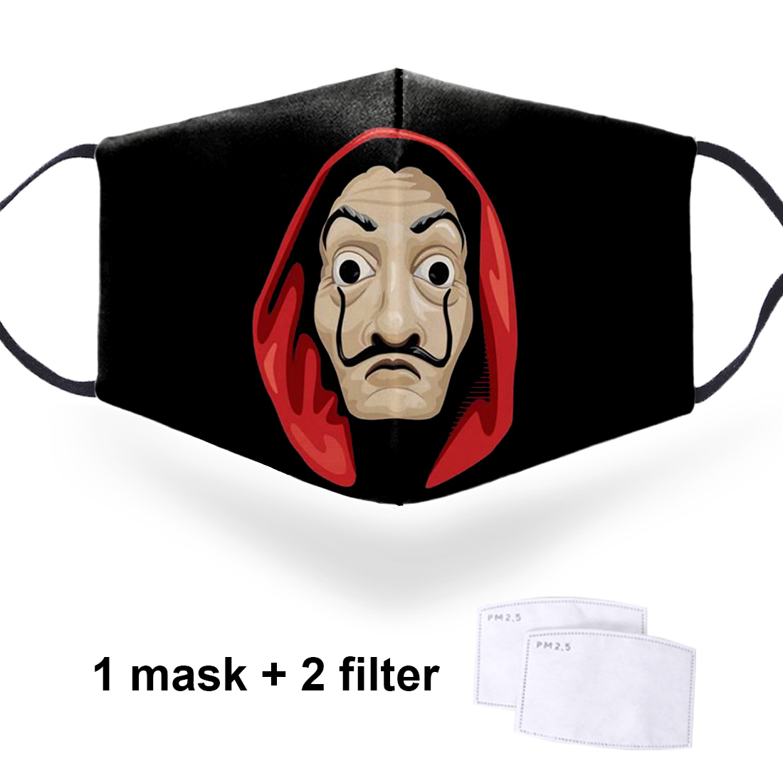La Casa De Papel Washable 3D Face Masks Mouth Muffle With 2 Filters Mens/Woman Reusable Comfortable Dustproof Breathable Mask
