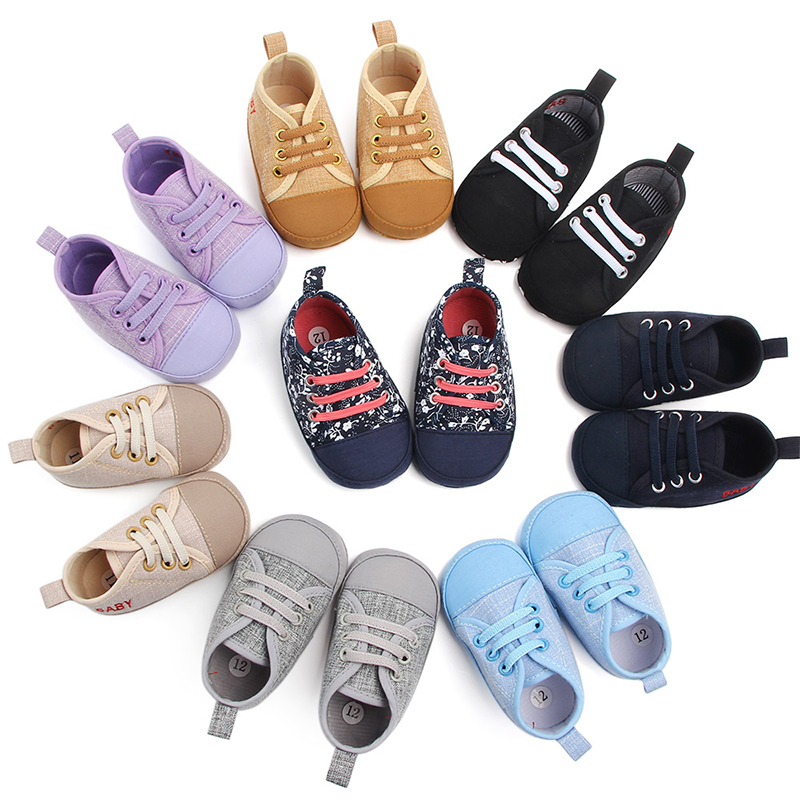 First Walkers Shoes Canvas Classic Sports Sneakers Newborn Baby Boys Girls Infant Toddler Soft Sole Anti-slip Baby Shoes