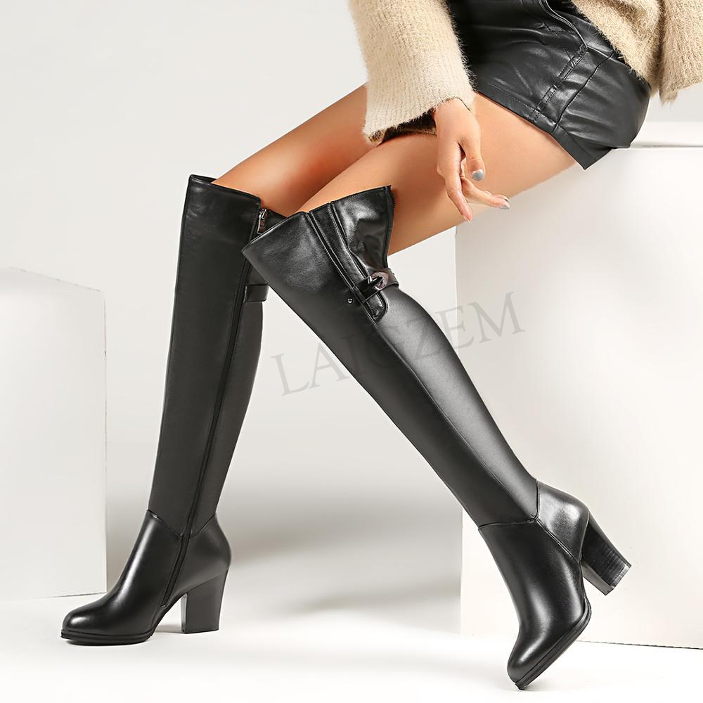 Zip 8CM Chunky Heels Boots Thigh