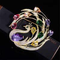 Vintage Phoenix broche de pedrería hermosos broches de cristal de colores para mujer Navidad broche de pines regalo accesorios mujer