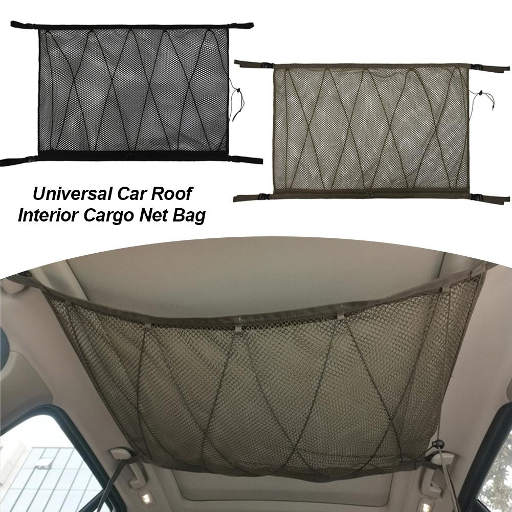 Car Ceiling Storage Net Pocket Universal Car Roof Interior Cargo Net Bag Portable Car Trunk Storage Organizer Cargo Net Bag