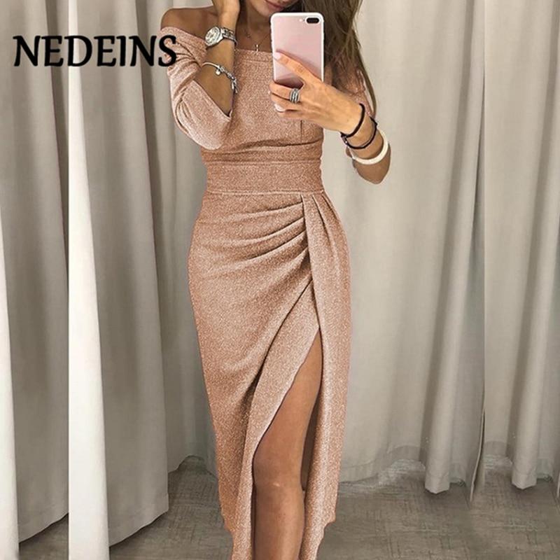 NEDEINS 2020 Fashion Sexy Long Summer Dress Women Elegant Vestido Party Dresses Plus Size Dresses Women Casual Night Dress