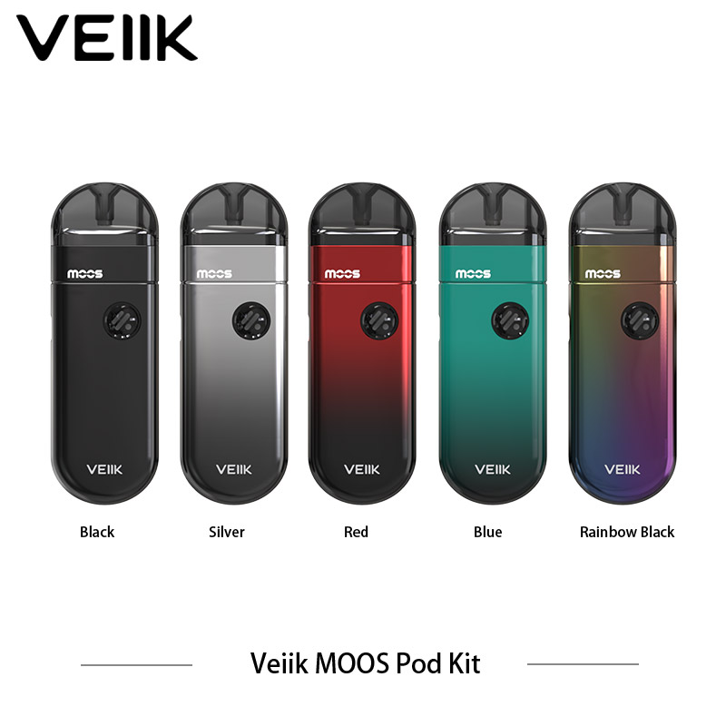 New Arrival Veiik Moos Vape Pod System Kit 1100mah 15w Cartridge 1.2ohm E Cigarette Ceramic Coil Black