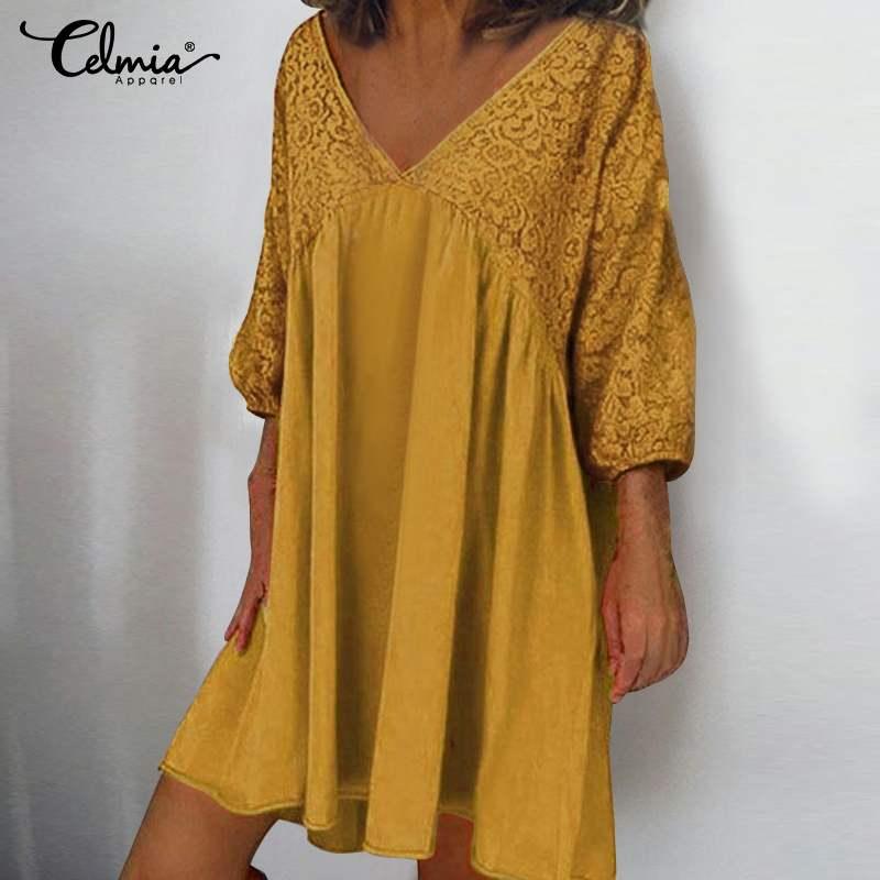 5XL Fashion Shirt Dress Celmia Women Sexy V-neck Lace Summer Sundress 3/4 Sleeve Casual Loose Pleated Beach Party Mini Vestido 7