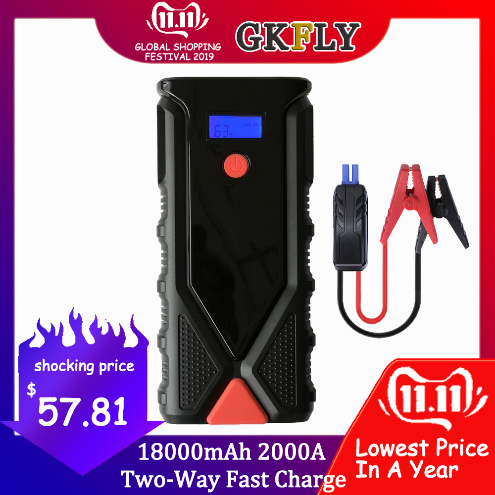 High Capacity 2000A 12V Car Jump Starter 18000mAh Portable Starting Device Power Bank Car Charger For Car Battery Booster Buster