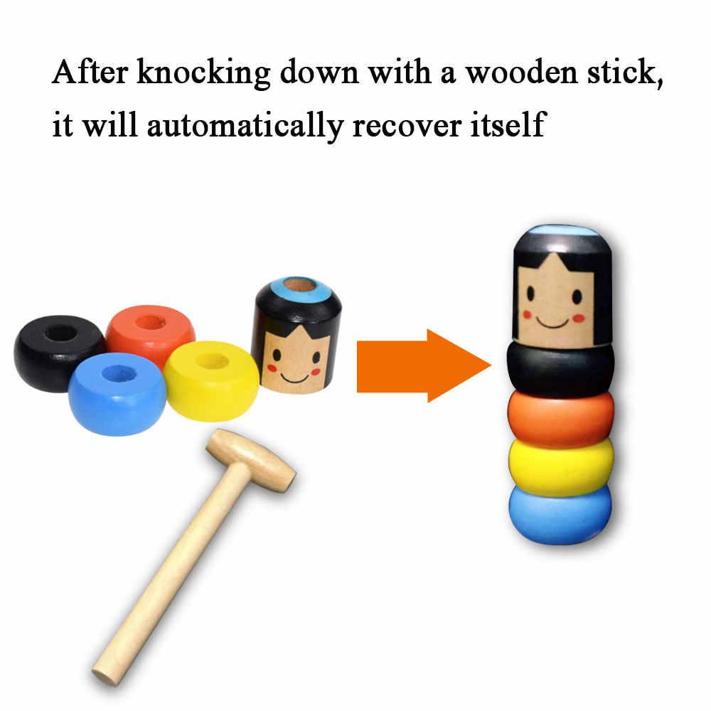 1 zestaw nieśmiertelny Daruma niezniszczalny drewniany człowiek magiczna zabawka magiczne sztuczki bliska scena magiczne rekwizyty komedia mentalizm zabawa akcesoria do zabawek