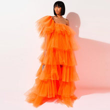 Оранжевое бальное платье летнее с оборками Многоярусное фатиновое