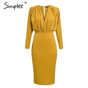Image 5 - Simpleeエレガントなvネックボディコン秋のドレスの女性バットウィングスリーブオフィスレディパーティードレスハイウエストスリム女性のレトロなドレス