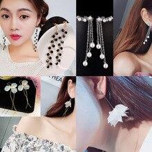 1Pair/lot Pearl Tassel Earrings Wedding Women Party Stud Earrings Jewelry 1pair lot 100
