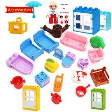 Acessórios tijolos sofá cama mini figura móveis tamanho grande blocos de construção compatível com marca peças brinquedos para crianças